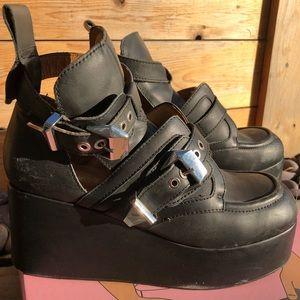 Jeffrey Campbell platform buckle booties